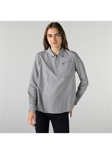 Lacoste Lacoste Kadın Regular Fit Yarım Fermuarlı Çizgili Lacivert Gömlek Lacivert